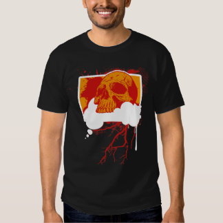 Think Good Thoughts Grunge Vector Skull Shirt