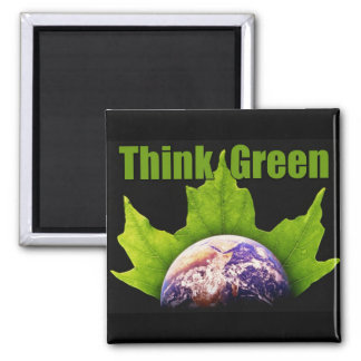 Think Green 2 Inch Square Magnet