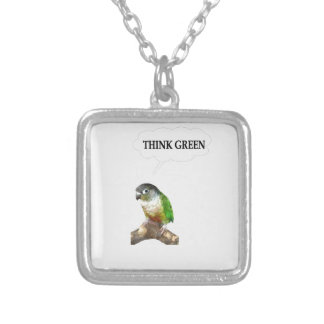 Think Green 2 Square Pendant Necklace