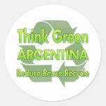 Think Green Argentina Round Stickers