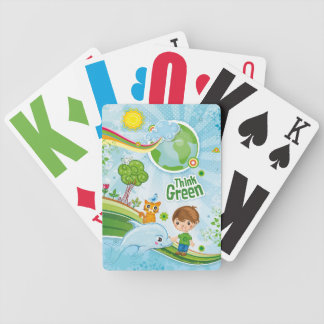 Think Green Awareness Happy Quote Bicycle Playing Cards