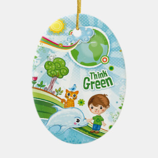 Think Green Awareness Happy Quote Ceramic Ornament