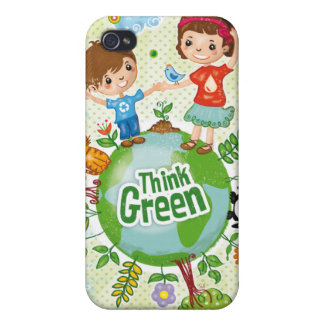 Think Green Awareness Happy Quote Cover For iPhone 4