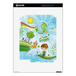 Think Green Awareness Happy Quote Decal For The iPad 2