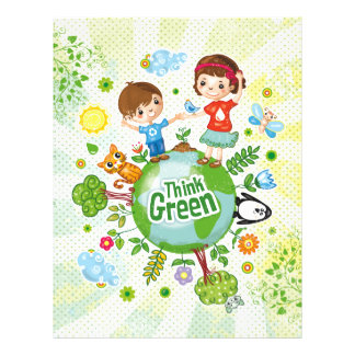 Think Green Awareness Happy Quote Flyer