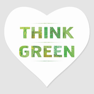 Think Green Awareness Happy Quote Heart Sticker