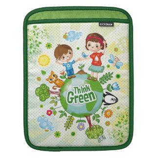 Think Green Awareness Happy Quote iPad Sleeve