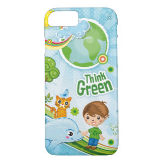 Think Green Awareness Happy Quote iPhone 7 Case