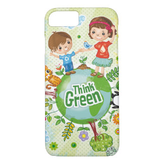 Think Green Awareness Happy Quote iPhone 8/7 Case