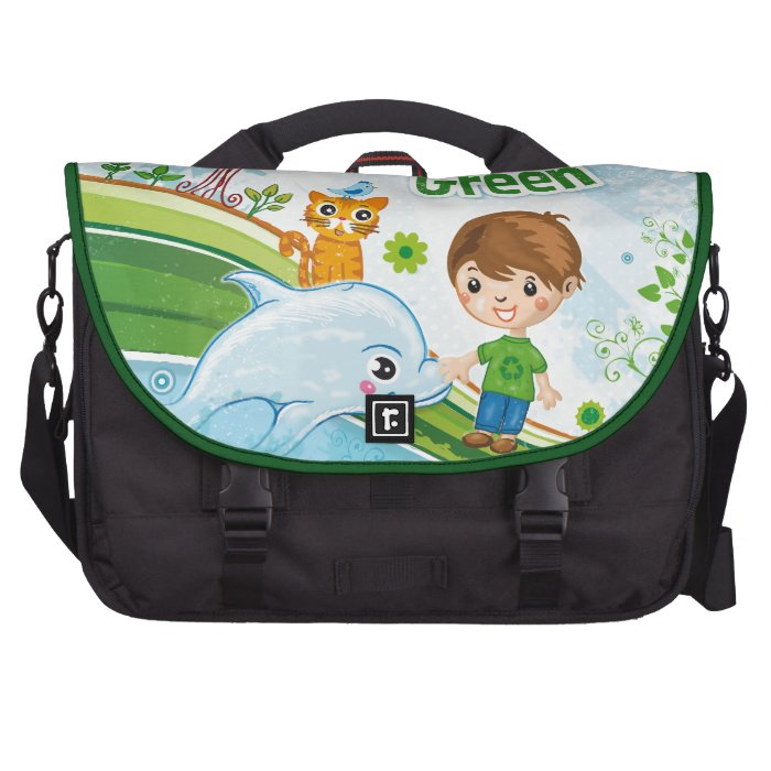 Think Green Awareness Happy Quote Laptop Bag