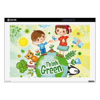 Think Green Awareness Happy Quote Laptop Decals