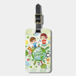 Think Green Awareness Happy Quote Luggage Tag