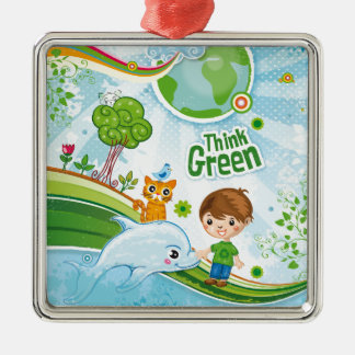 Think Green Awareness Happy Quote Metal Ornament