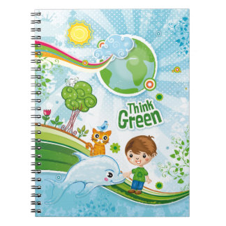Think Green Awareness Happy Quote Notebook