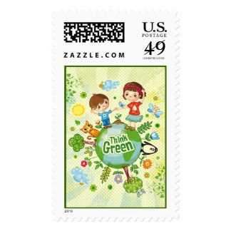 Think Green Awareness Happy Quote Postage