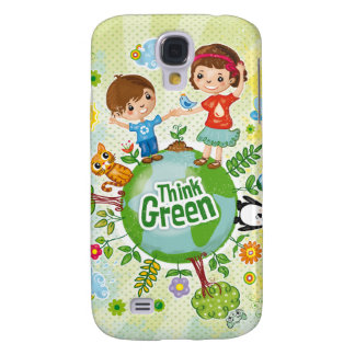 Think Green Awareness Happy Quote Samsung S4 Case