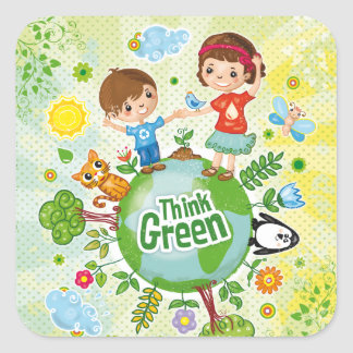 Think Green Awareness Happy Quote Square Sticker