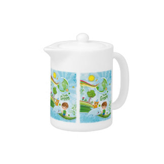 Think Green Awareness Happy Quote Teapot