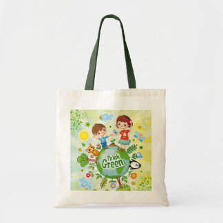 Think Green Awareness Happy Quote Tote Bag