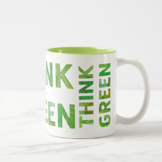 Think Green Awareness Happy Quote Two-Tone Coffee Mug