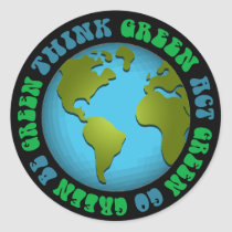 Think Green Be Green Design Classic Round Sticker