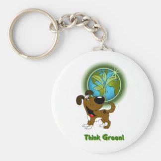 Think Green! - Boots Basic Round Button Keychain