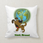 Think Green! - Boots Throw Pillow