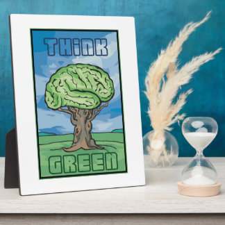 Think Green Brain Display Plaques