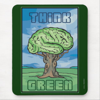 Think Green Brain Mouse Pad