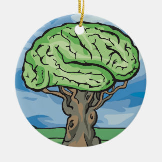 Think Green Brain Double-Sided Ceramic Round Christmas Ornament