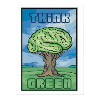 Think Green Brain Postcard