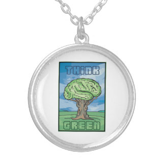 Think Green Brain Round Pendant Necklace