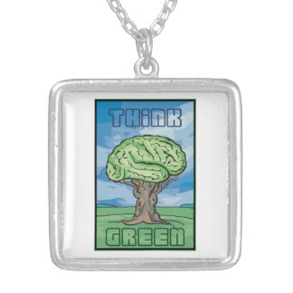 Think Green Brain Square Pendant Necklace