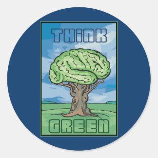 Think Green Brain Round Sticker