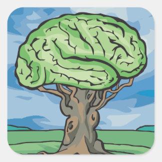 Think Green Brain Square Sticker