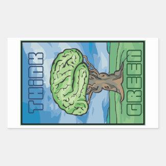 Think Green Brain Rectangular Sticker
