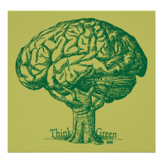 Think Green Brain Tree Poster
