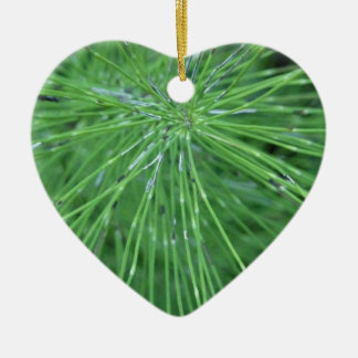 Think Green! by GRASSROOTSDESIGNS4U Double-Sided Heart Ceramic Christmas Ornament