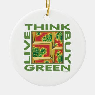 Think Green, Cactus Ceramic Ornament