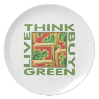 Think Green, Cactus Melamine Plate