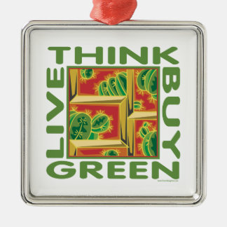 Think Green, Cactus Metal Ornament