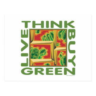 Think Green, Cactus Postcard