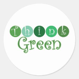 Think Green Circles Classic Round Sticker