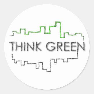 Think Green City Skyline Design Classic Round Sticker