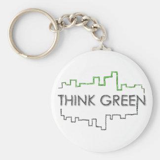 Think Green City Skyline Design | Keychain