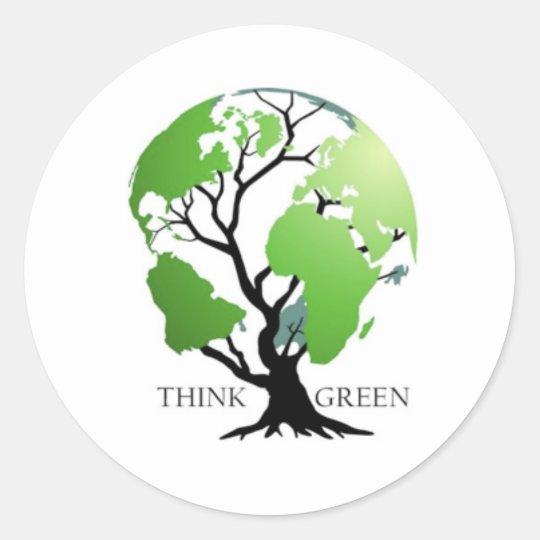 think green! classic round sticker