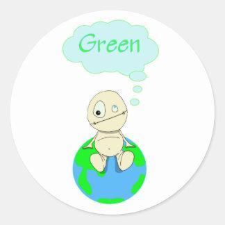 Think ... Green Classic Round Sticker