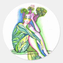 tree, girl, artistic, portrait, ecology, green, creative, painting, artsprojekt, earth, Sticker with custom graphic design