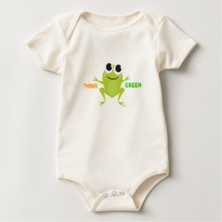 """Think Green"" Cute Frog Baby Bodysuit"