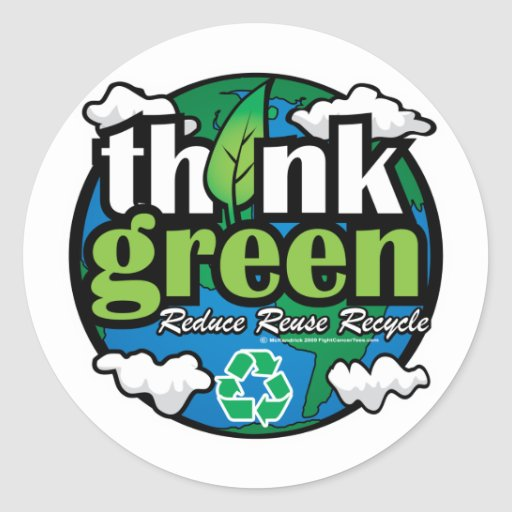 Think Green Earth Classic Round Sticker